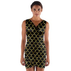 Scales1 Black Marble & Gold Foil Wrap Front Bodycon Dress