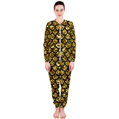 Scales1 Black Marble & Gold Foil (r) Onepiece Jumpsuit (ladies)