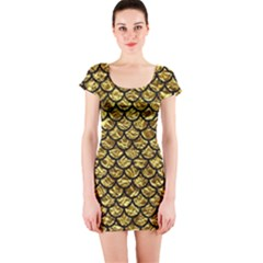Scales1 Black Marble & Gold Foil (r) Short Sleeve Bodycon Dress