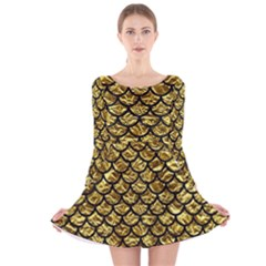 Scales1 Black Marble & Gold Foil (r) Long Sleeve Velvet Skater Dress