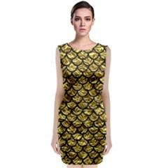 Scales1 Black Marble & Gold Foil (r) Classic Sleeveless Midi Dress