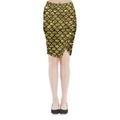 Scales1 Black Marble & Gold Foil (r) Midi Wrap Pencil Skirt