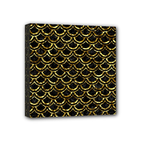Scales2 Black Marble & Gold Foil Mini Canvas 4  X 4