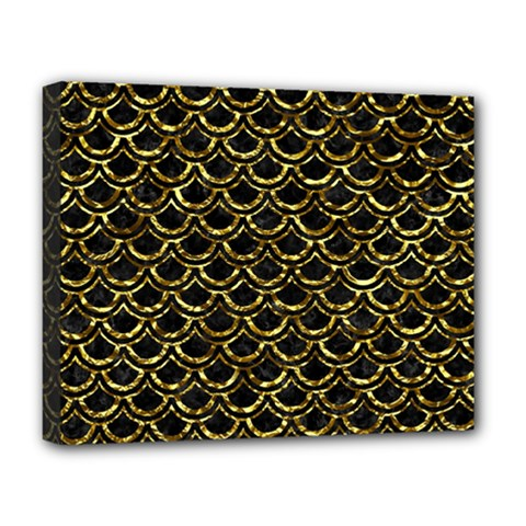 Scales2 Black Marble & Gold Foil Deluxe Canvas 20  X 16
