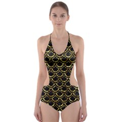 Scales2 Black Marble & Gold Foil Cut Out One Piece Swimsuit