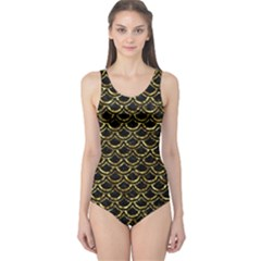 Scales2 Black Marble & Gold Foil One Piece Swimsuit