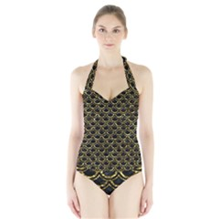 Scales2 Black Marble & Gold Foil Halter Swimsuit