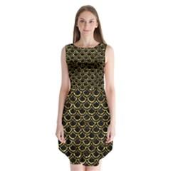 Scales2 Black Marble & Gold Foil Sleeveless Chiffon Dress