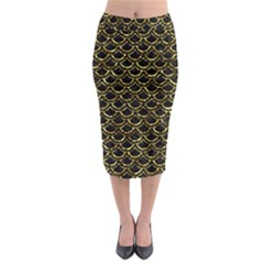Scales2 Black Marble & Gold Foil Midi Pencil Skirt