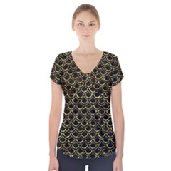 Scales2 Black Marble & Gold Foil Short Sleeve Front Detail Top