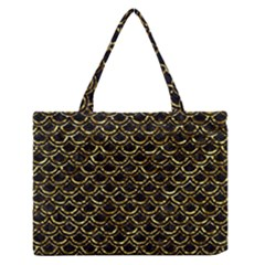 Scales2 Black Marble & Gold Foil Zipper Medium Tote Bag
