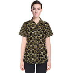 Scales2 Black Marble & Gold Foil Women s Short Sleeve Shirt
