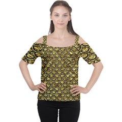 Scales2 Black Marble & Gold Foil (r) Cutout Shoulder Tee