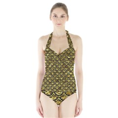 Scales2 Black Marble & Gold Foil (r) Halter Swimsuit