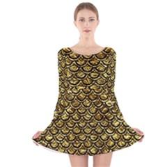 Scales2 Black Marble & Gold Foil (r) Long Sleeve Velvet Skater Dress