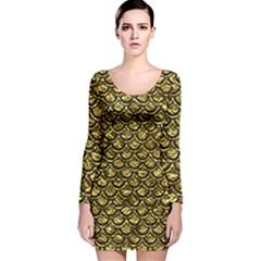 Scales2 Black Marble & Gold Foil (r) Long Sleeve Velvet Bodycon Dress