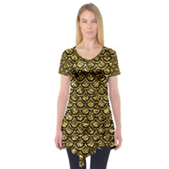 Scales2 Black Marble & Gold Foil (r) Short Sleeve Tunic