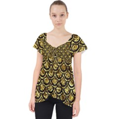 Scales2 Black Marble & Gold Foil (r) Lace Front Dolly Top