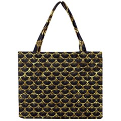 Scales3 Black Marble & Gold Foil Mini Tote Bag