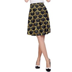 Scales3 Black Marble & Gold Foil A Line Skirt