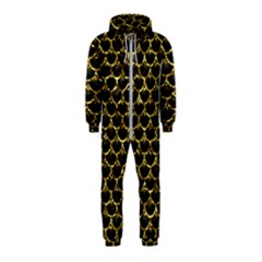 Scales3 Black Marble & Gold Foil Hooded Jumpsuit (kids)