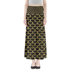 Scales3 Black Marble & Gold Foil Full Length Maxi Skirt