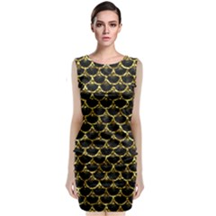 Scales3 Black Marble & Gold Foil Classic Sleeveless Midi Dress