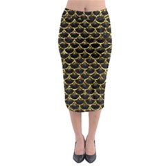 Scales3 Black Marble & Gold Foil Midi Pencil Skirt