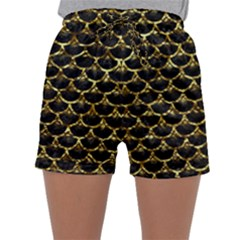 Scales3 Black Marble & Gold Foil Sleepwear Shorts