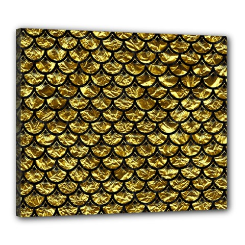 Scales3 Black Marble & Gold Foil (r) Canvas 24  X 20