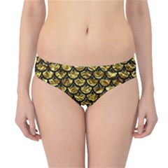 Scales3 Black Marble & Gold Foil (r) Hipster Bikini Bottoms