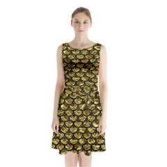 Scales3 Black Marble & Gold Foil (r) Sleeveless Waist Tie Chiffon Dress