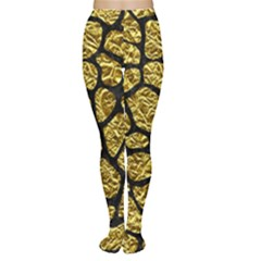 Skin1 Black Marble & Gold Foil Women s Tights