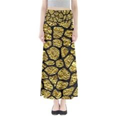 Skin1 Black Marble & Gold Foil Full Length Maxi Skirt