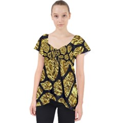 Skin1 Black Marble & Gold Foil Lace Front Dolly Top
