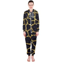 Skin1 Black Marble & Gold Foil (r) Hooded Jumpsuit (ladies)