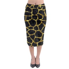 Skin1 Black Marble & Gold Foil (r) Midi Pencil Skirt