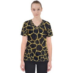 Skin1 Black Marble & Gold Foil (r) Scrub Top