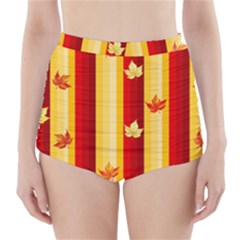 Autumn Background High Waisted Bikini Bottoms