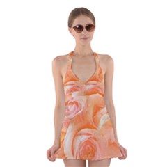 Flower Power, Wonderful Roses, Vintage Design Halter Swimsuit Dress
