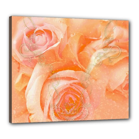 Flower Power, Wonderful Roses, Vintage Design Canvas 24  X 20