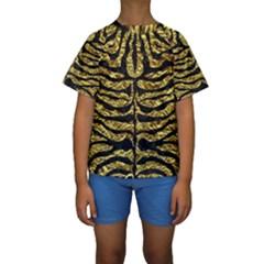 Skin2 Black Marble & Gold Foil (r) Kids  Short Sleeve Swimwear