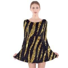 Skin3 Black Marble & Gold Foil Long Sleeve Velvet Skater Dress