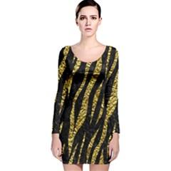 Skin3 Black Marble & Gold Foil Long Sleeve Velvet Bodycon Dress
