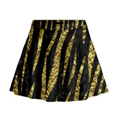 Skin3 Black Marble & Gold Foil Mini Flare Skirt