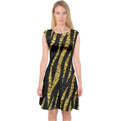 Skin3 Black Marble & Gold Foil Capsleeve Midi Dress