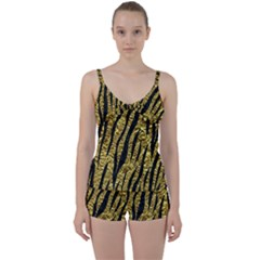 Skin3 Black Marble & Gold Foil (r) Tie Front Two Piece Tankini