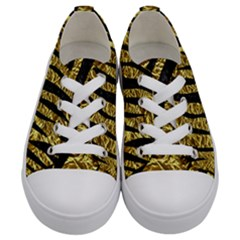 Skin3 Black Marble & Gold Foil (r) Kids  Low Top Canvas Sneakers