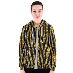 Skin4 Black Marble & Gold Foil Women s Zipper Hoodie