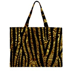 Skin4 Black Marble & Gold Foil Zipper Mini Tote Bag